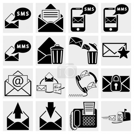 Envelope, communication, plane, shopping, mobile sms text message and other icons for e-mail