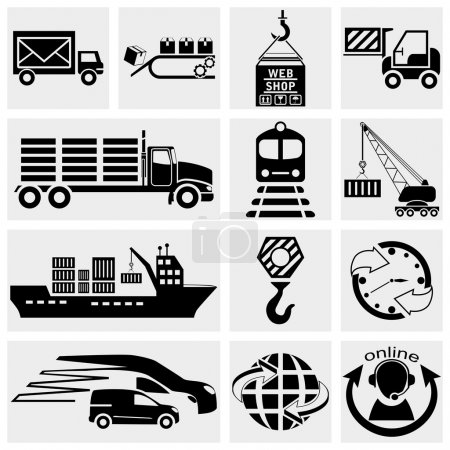 Illustration for Collection of web icon, internet icon, business icon, supply chain, shipping, shopping and industry vector icons set on grey background.EPS file available - Royalty Free Image