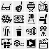Movie vector icon set on gray