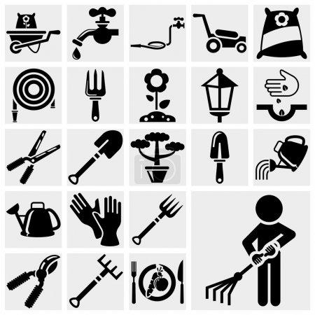 Photo pour Jardinage jeu d'icônes isolé sur fichier gris background.eps disponible - image libre de droit