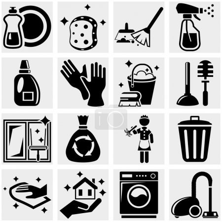 Cleaning vector icons set on gray.