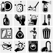 Cleaning vector icons set on gray
