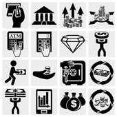 Finance banking and money icons set isolated on grey backgroundEPS file available