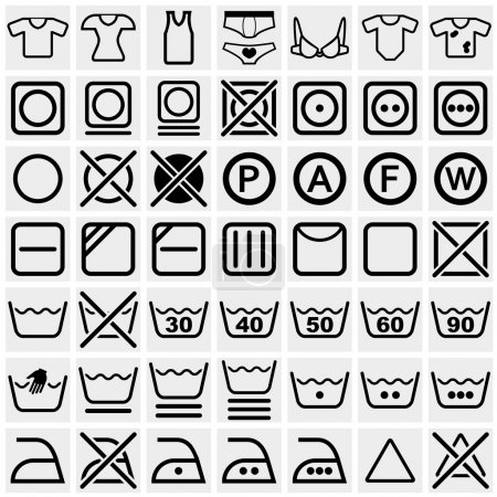Washing symbols (Washing instruction symbols, bleaching and Ironing instruction, Dry clean icon) vector icon set on gray
