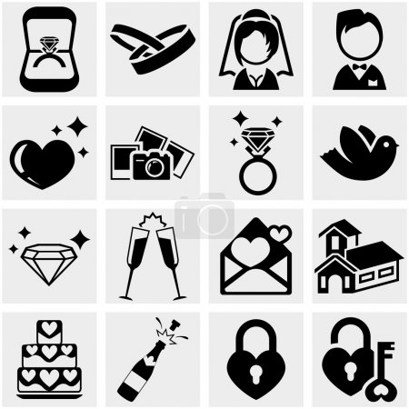 Wedding vector icon set on gray