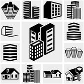Buildings icons set isolated on grey backgroundEPS file available