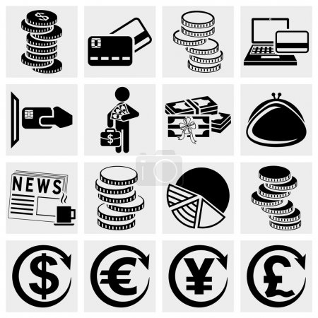 Illustration pour Icônes d'argent mis isolé sur fond gris. fichier EPS disponible . - image libre de droit