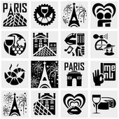 Paris vector icons set on gray