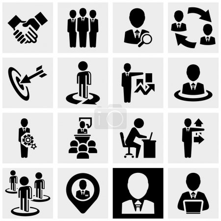Illustration for Business man icons set isolated on grey background.EPS file available. - Royalty Free Image