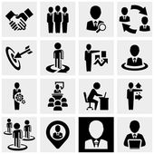 Business man vector icons set on gray