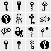 Key vector icons set on gray