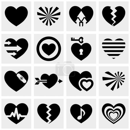 Illustration for Hearts icon set isolated on grey background.EPS file available. - Royalty Free Image