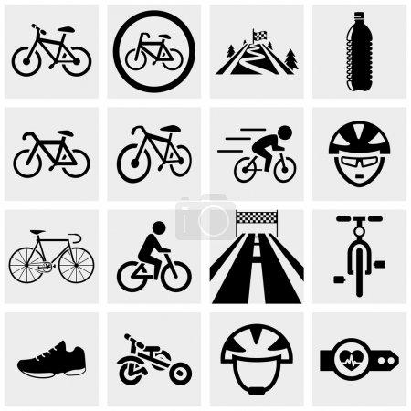Illustration for Biking icons set isolated on grey background.EPS file available. - Royalty Free Image