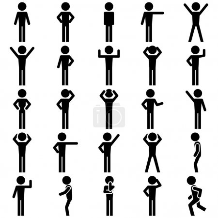 Illustration for Stick figure positions icon set. EPS file available. - Royalty Free Image