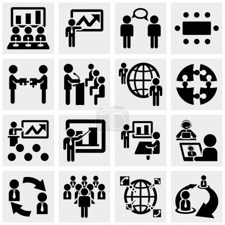 Illustration pour Icônes d'homme d'affaires sur fond gris. fichier EPS disponible . - image libre de droit