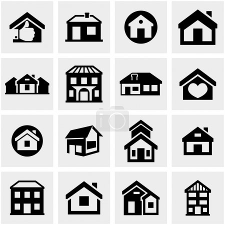 Illustration for Houses icons set isolated on grey background.EPS file available. - Royalty Free Image