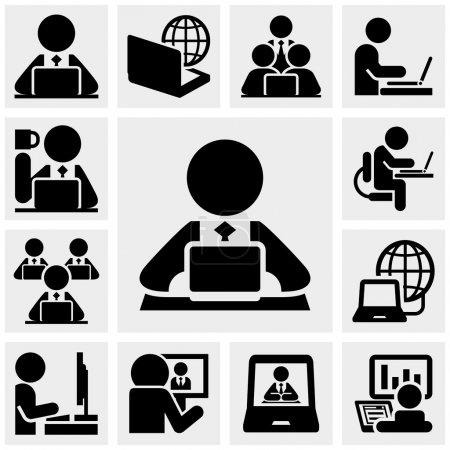 Illustration for Working on computer people icons set isolated on grey background.EPS file available. - Royalty Free Image