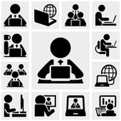Working on computer people icons set isolated on grey backgroundEPS file available