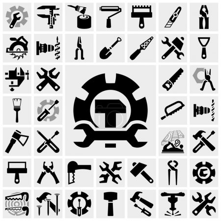 Illustration for Tools icons set isolated on grey background.EPS file available. - Royalty Free Image