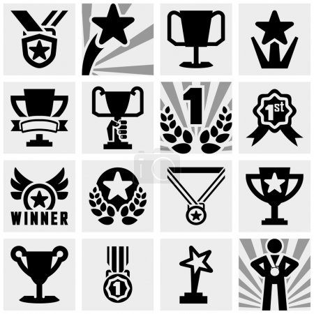 Awards vector icons set on gray