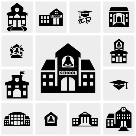 School building vector icons set on gray