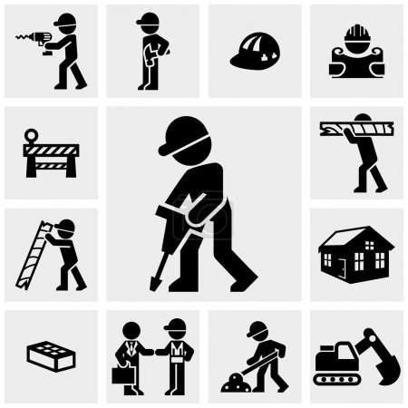 Construction icons set on gray.
