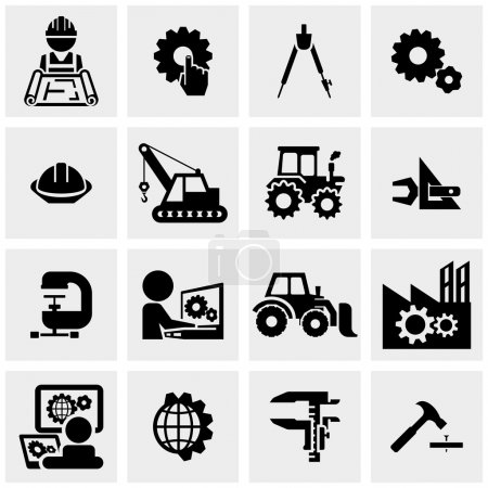 Engineering icons set on grey background.EPS file ...
