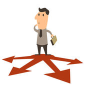 Businessman standing on arrow in different directions business concept Vector illustration