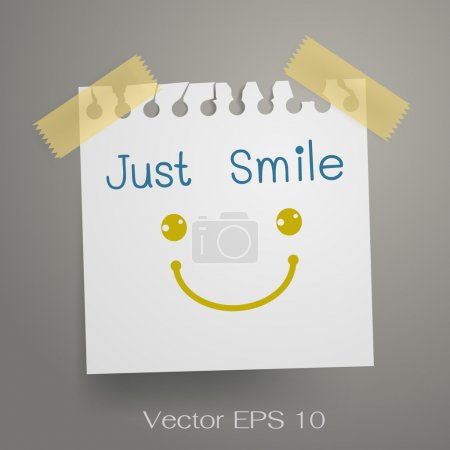 Illustration for Just smile note with smiley symbol on torn white paper - Royalty Free Image