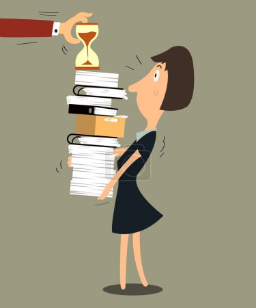 Illustration for Business woman required hard working with pile of paper work and need to finish in time. - Royalty Free Image
