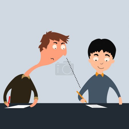 Illustration for Student looking over another student shoulder to cheating exams. - Royalty Free Image