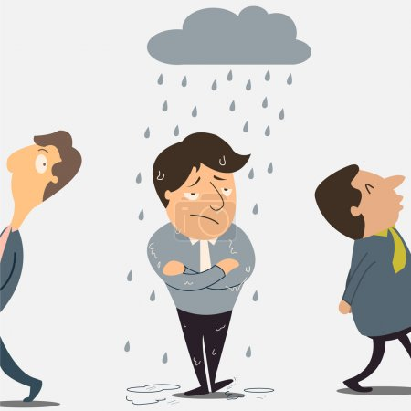 Illustration for Businessman is unhappy with bad luck that happening only on him. - Royalty Free Image