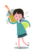 Business woman carrying stacked paper and talking with smart phone in very busy day in her office Vector illustration