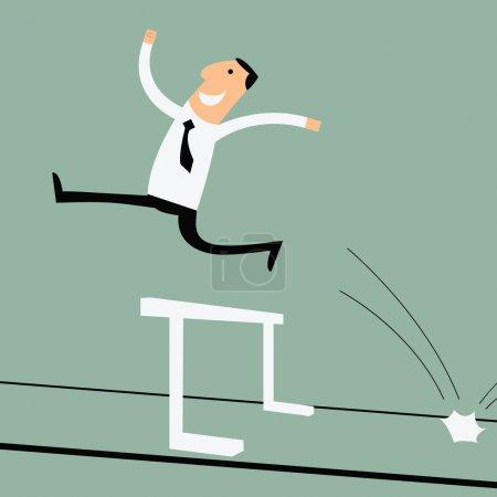 Illustration pour Homme d'affaires courir et peut sauter par-dessus l'obstacle, concept d'entreprise dans le succès et surmonter le problème ou l'obstacle . - image libre de droit