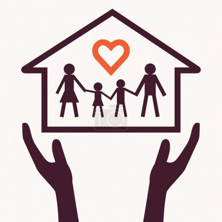 Illustration pour Les mains tenant la chaîne familiale avec le symbole du coeur forme et accueil dans paume. concept de l'amour de la famille. - image libre de droit
