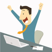 Happy businessman raising hands with clenched fists sitting at his working desk with laptop and paper note being excited and cheerful Representing to getting a job or having a good news for example