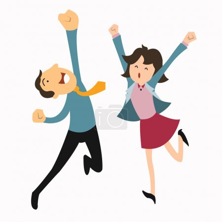 Happy business man and woman jumping in the air cheerfully. Feeling and emotion concept.