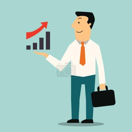 Photo pour Homme d'affaires debout et portant une mallette avec une flèche vers le haut et un graphique croissant. Concept d'entreprise en croissance dans l'économie et l'investissement . - image libre de droit