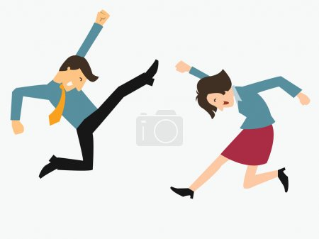 Illustration for Happy business man and woman jumping in the air cheerfully. Feeling and emotion concept in happiness, winning, successful, or gain victory. - Royalty Free Image