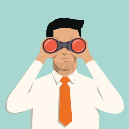 Illustration for Young handsome businessman with binoculars. Business concept in vision and leadership. - Royalty Free Image