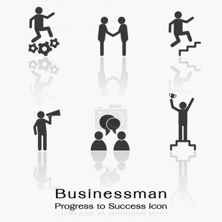 Illustration pour Icône ensemble d'homme d'affaires étant le progrès dans le succès, le travail, la corpération, la promotion, l'annonce, la conversation, et gagner . - image libre de droit