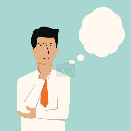 Illustration for Business man thinking of something seriously. - Royalty Free Image
