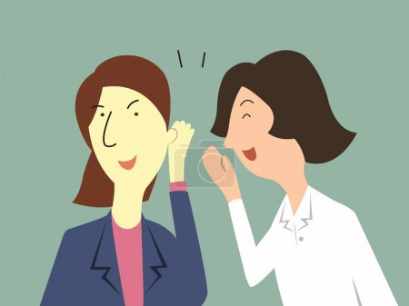 Illustration for Woman whispers to her colleague in office about gossip, rumor, or secrets. - Royalty Free Image