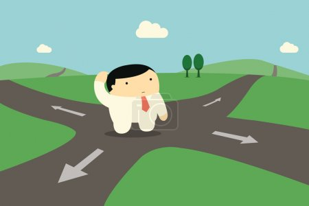 Illustration for Cute character businessman standing alone at intersection, being confused and making decision to choose right way to go. - Royalty Free Image