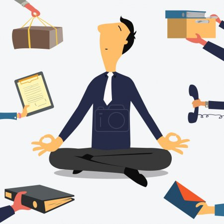 Illustration for Businessman doing Yoga to calm down the stressful emotion from multitasking and very busy working. - Royalty Free Image