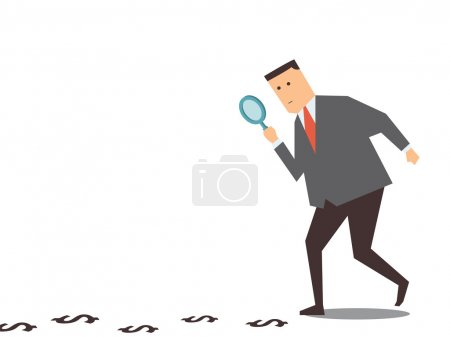 Illustration for Businessman walking with magnifying glass, looking for money track on the ground. - Royalty Free Image