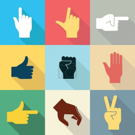 Illustration for Flat design icon set of hands in many and different gesture with long shadow set 2. Vector illustration. - Royalty Free Image