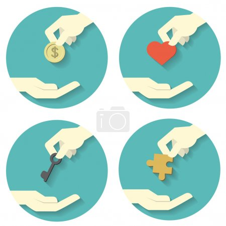 hand pick and give icons