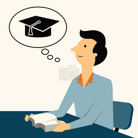 Illustration for Man sitting and reading  a book, thinking of graduation cap, representing to be graduated in studying or finished school or university. - Royalty Free Image