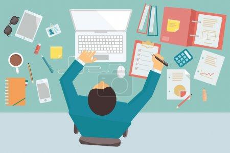 Illustration pour Homme d'affaires travaillant et occupé sur son bureau avec ordinateur portable et matériel de bureau, dans le style de design plat à la mode . - image libre de droit